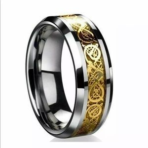 Men's Celtic Dragon Gold & Silver Ring NWT